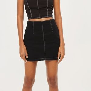 TOPSHOP Moto Black Contrast Stitched A-Line Skirt